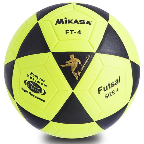 М'яч для міні-футболу №4 Клеєний-PVC FB-0450, Салатово-чорний, фото 2