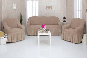 Чехол на диван и два кресла с оборкой, натяжной, жатка-креш, универсальный Concordia Темный Беж