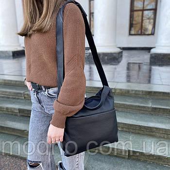Жіноча стильна містка шкіряна сумка на плече Polina & Eiterou