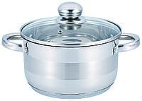 Кастрюля с крышкой из нержавеющей стали Benson BN-221 (6.5 л) / набор посуды / кастрюли Бенсон