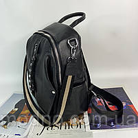Жіночий шкіряний міський рюкзак з текстильним ремінцем на плече Polina & Eiterou, фото 5