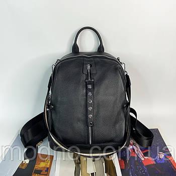 Жіночий шкіряний міський рюкзак з текстильним ремінцем на плече Polina & Eiterou