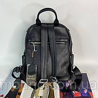 Жіночий шкіряний міський рюкзак з текстильним ремінцем на плече Polina & Eiterou, фото 7