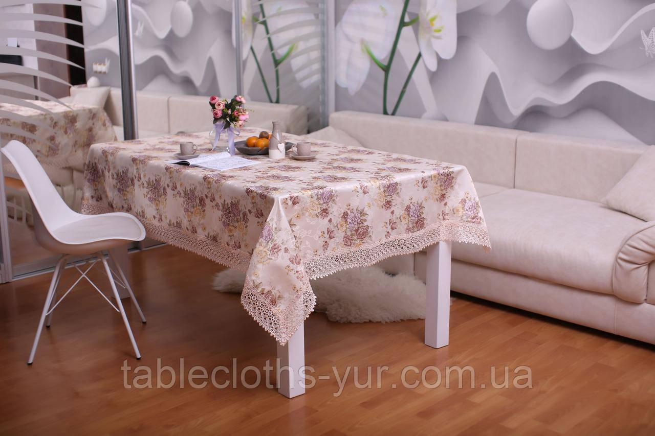 Скатерть Праздничная с Кружевом 110-150 3D «Beautiful» Прямоугольная №14