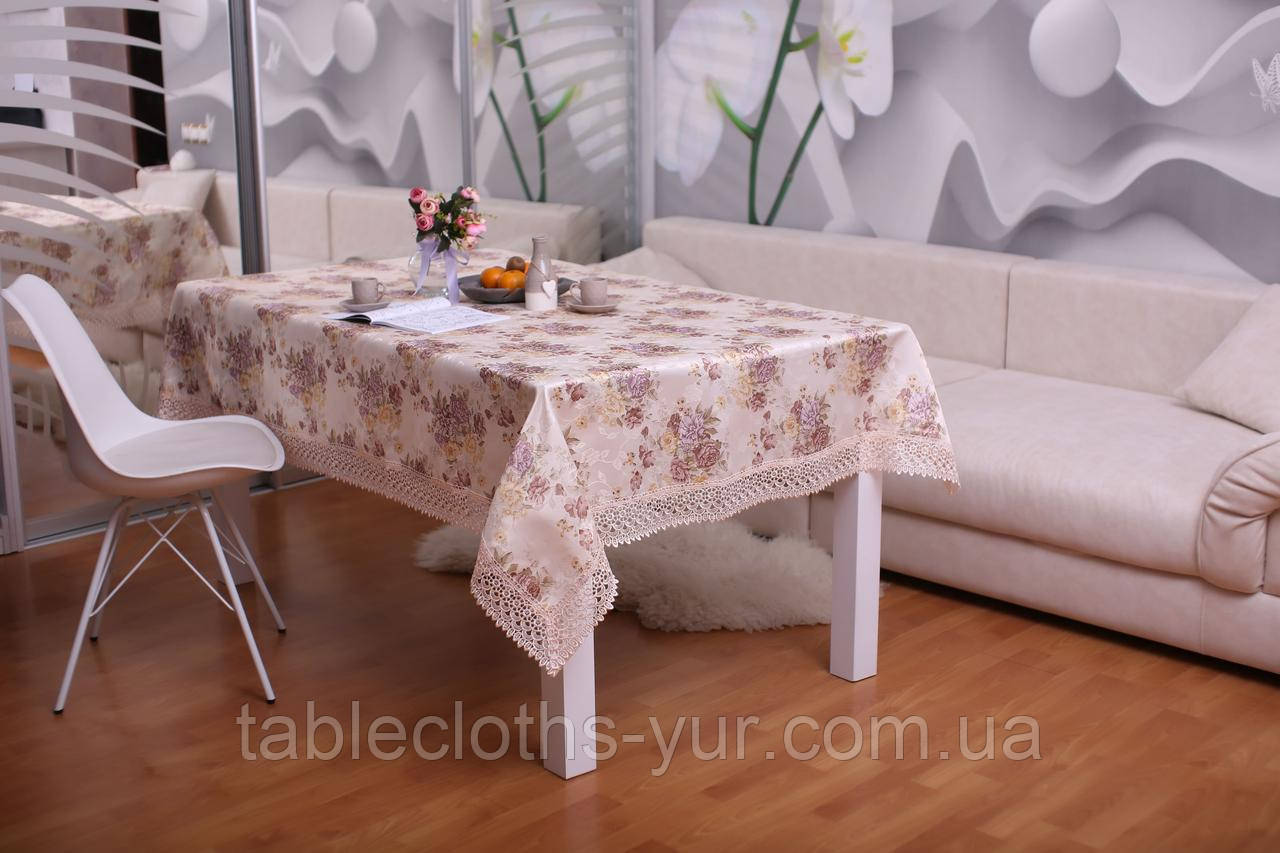 Скатертина Святкова з Мереживом 110-150 3D «Beautiful» Прямокутна №14
