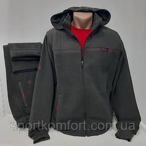 Теплий спортивний костюм Soccer Туреччина тринитка брюки прямі розмір сірий меланж розміри 2хл 3хл