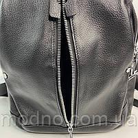 Жіночий шкіряний міський рюкзак з текстильним ремінцем на плече Polina & Eiterou, фото 9