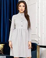 Замшевое красивое женское платье клеш до колена с завышенной талией арт 1257, фото 1
