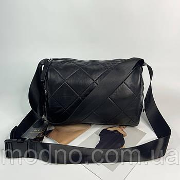 Женская кожаная сумка через и на плечо с широким ремешком Polina & Eiterou чёрная