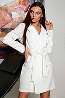 Женское двубортное платье-пиджак выше колен белое