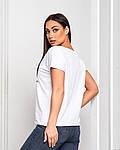 Женская футболка, хлопок, р-р универсальный 48-54 (белый), фото 2