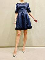 Платье женское коктейльное короткое темно синее с коротким рукавом молодежное стильное яркое, фото 1