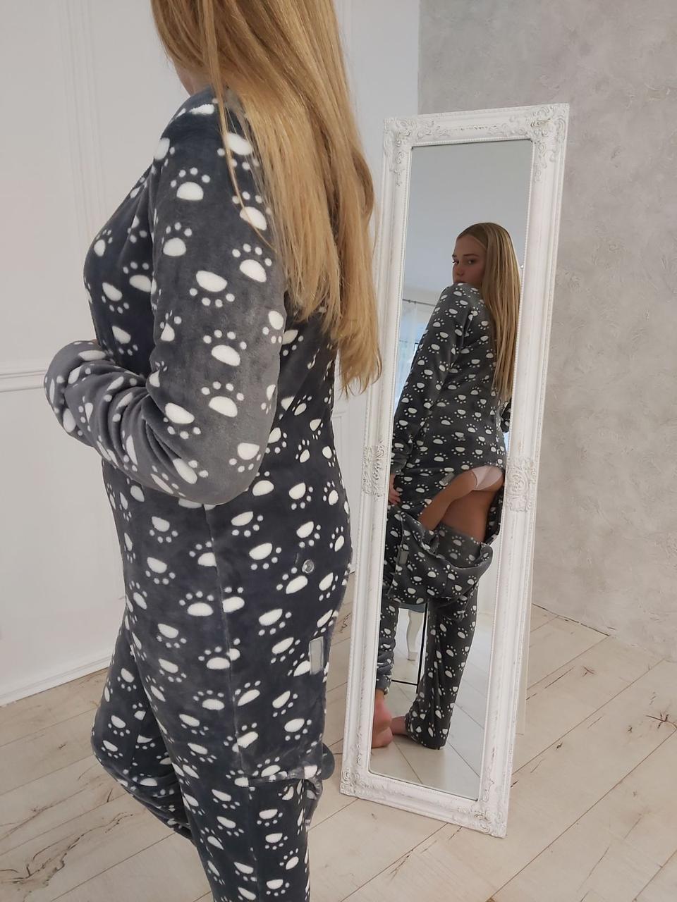 Пижама женская с карманом на попе_ Попожама_ Махра  Лапки на сером_ (к)