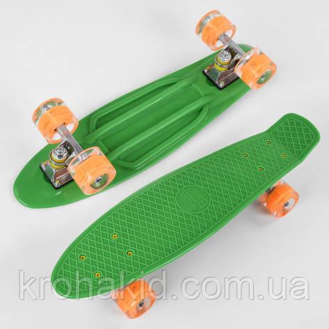 Скейт Пенні борд 1705 Best Board, дошка=55см, колеса PU зі світлом, діаметр 6см (зелений), фото 2
