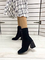 Ботинки женские на каблуке, черные, натуральная замша, байка, код FS-5553-1