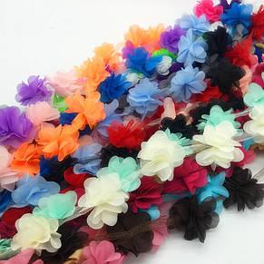 Шифоновые цветы для украшений, декора одежды, 5 см красного цвета, 1 шт!, фото 2