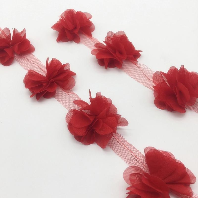 Шифоновые цветы для украшений, декора одежды, 5 см красного цвета, 1 шт!