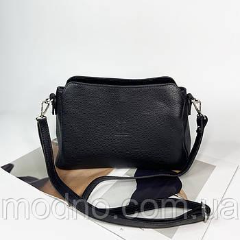 Женская кожаная итальянская сумка через плечо на три отделения Vera Pelle чёрная