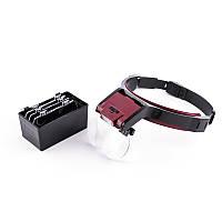 MG81001B лупа бинокулярная налобная с LED подсветкой, 4 сменных линзы, пластик: 1.7Х, 2Х, 2.5Х, 3.5Х, №407038