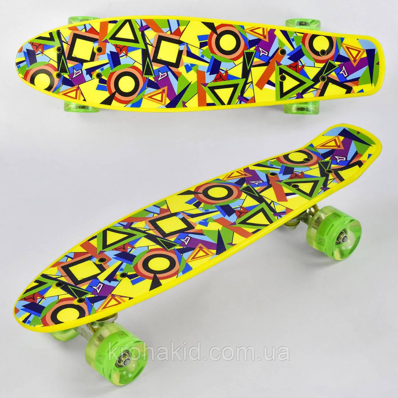 Скейт Пенні борд (Penny Board) Best Board зі світними колесами, дошка=55см, колеса PU d=6см