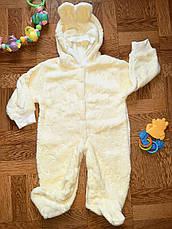 Дитячий теплий чоловічок з вушками на капюшоні (махра) - 56, 62, 68, 74, 80 см, фото 2