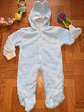 Дитячий теплий чоловічок з вушками на капюшоні (махра) - 56, 62, 68, 74, 80 см, фото 3