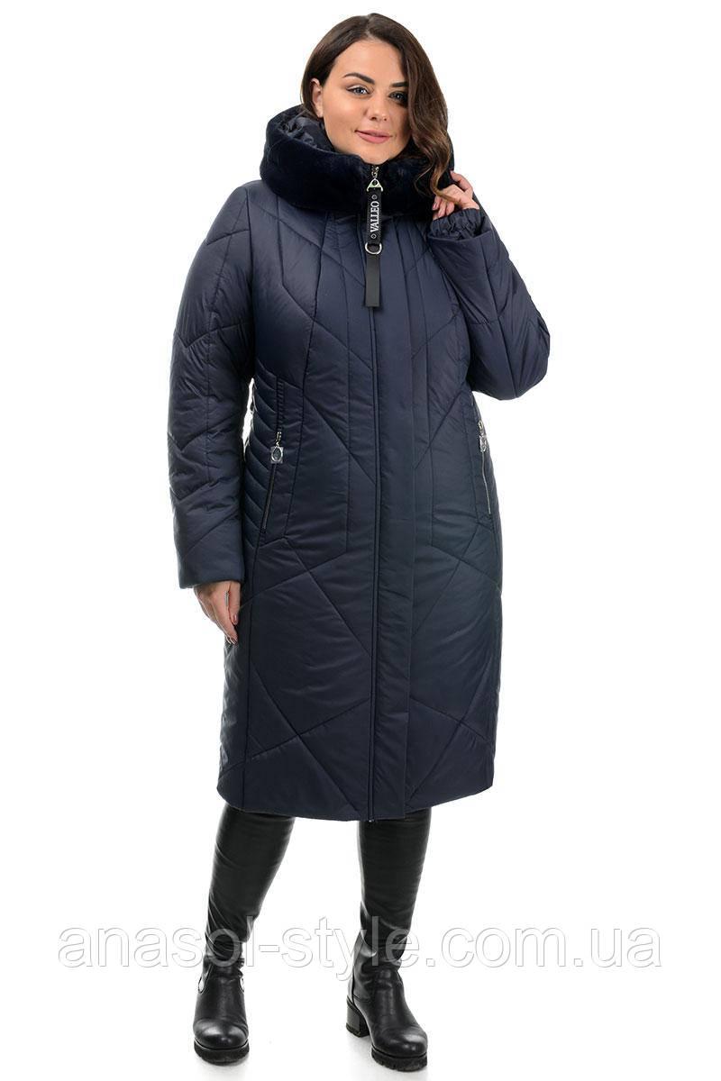 Пальто Valleo 00182 синее 50-62