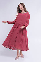 Легкое  платье из шифона  терракотовое Lesya Корри 2