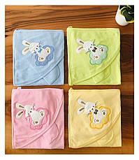 Дитячий рушник-куточок для купання / рушник з капюшоном / дитячий рушник з куточком 90х90 см, фото 2
