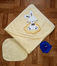 Дитячий рушник-куточок для купання / рушник з капюшоном / дитячий рушник з куточком 90х90 см, фото 3