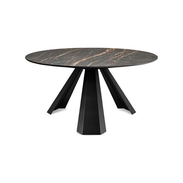 Круглий стіл з коричневого мармуру
