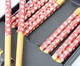 Палочки для еды бамбук с рисунком набор 5 пар №2, фото 2