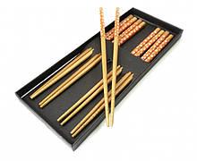 Палочки для еды бамбук с рисунком набор 5 пар №3