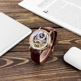 Оригинальные мужские наручные часы скелетон механика с автоподзаводом Brucke J055 Brown-Cuprum
