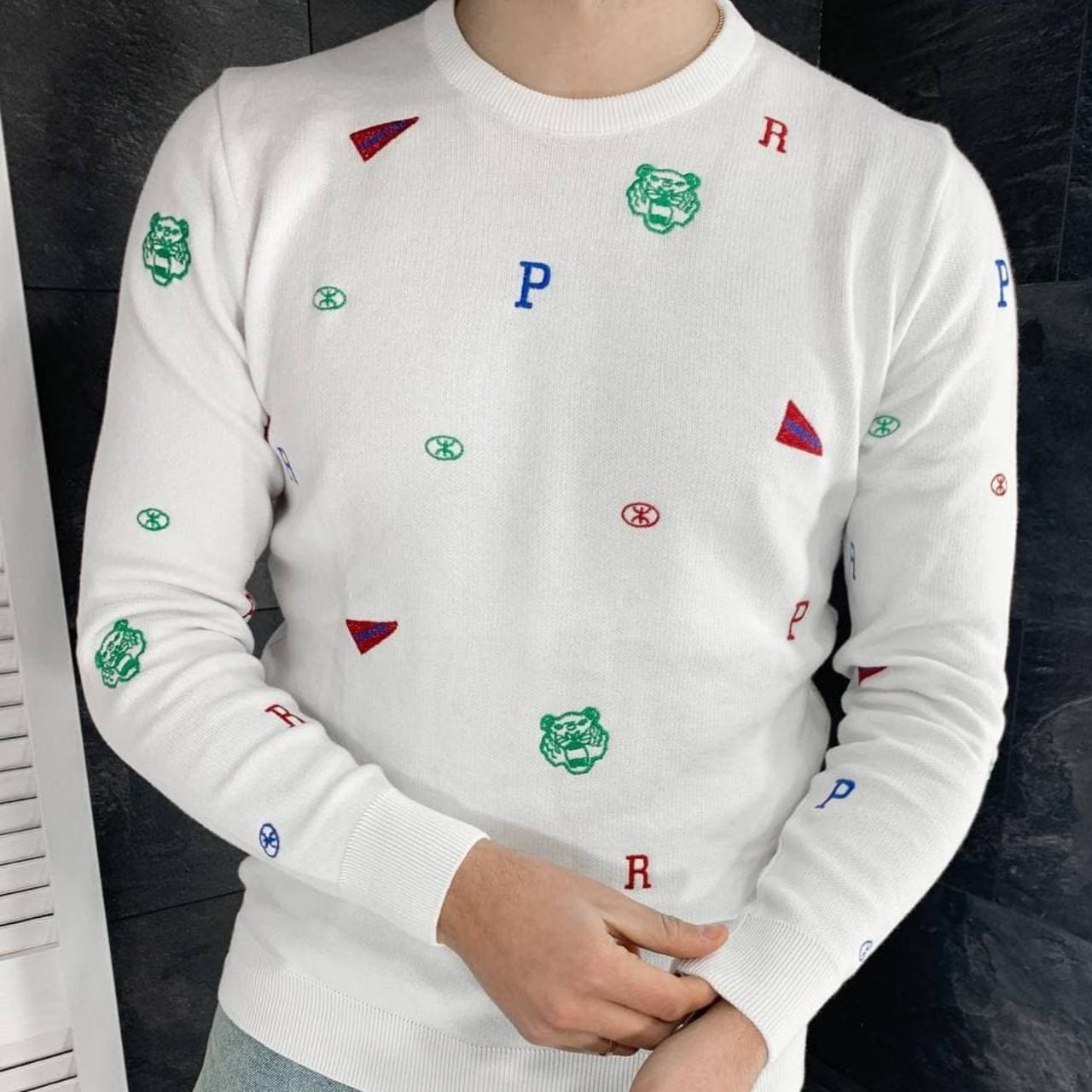 Білий чоловічий светр I Стильна модна кофта