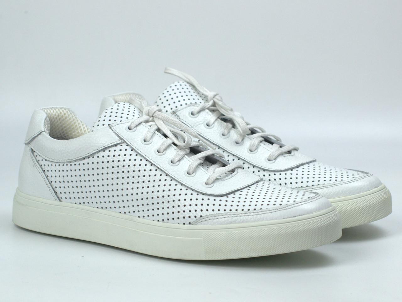 Мужские летние кроссовки белые кожаные кеды обувь больших размеров Rosso Avangard Ada White PerfLeath TPR BS