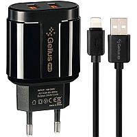 Сетевое зарядное устройство Gelius Pro Avangard GP-HC06 2USB 2.4A + Cable iPhone X Black