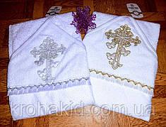 Крыжма для крещения с капюшоном - полотенце-уголок для крещения с вышивкой 100*100 см (Турция)