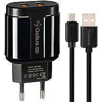 Сетевое зарядное устройство Gelius Pro Avangard GP-HC06 2USB 2.4A + Cable MicroUSB Black