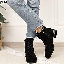 Ботинки женские замшевые на низком каблуке, фото 3