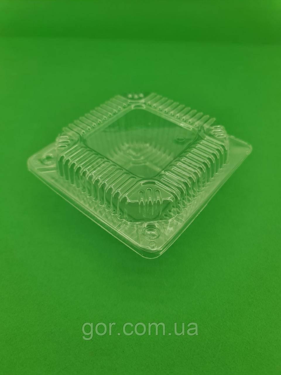 Контейнер пластиковый с откидной крышкой V400мл ПС-6 (50 шт) одноразовая упаковка для десертов