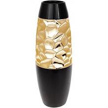 Ваза керамическая Vjosa 38см, черный с золотом