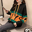 Свитер женский молодежный объемный теплый вязанный с капюшоном р-р 42-46, фото 2