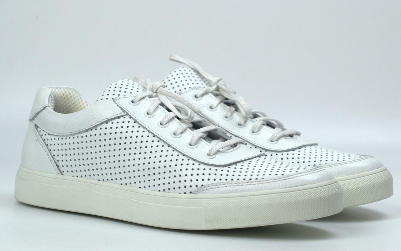 Мужские летние кроссовки белые кожаные кеды обувь Rosso Avangard Ada White PerfLeath TPR