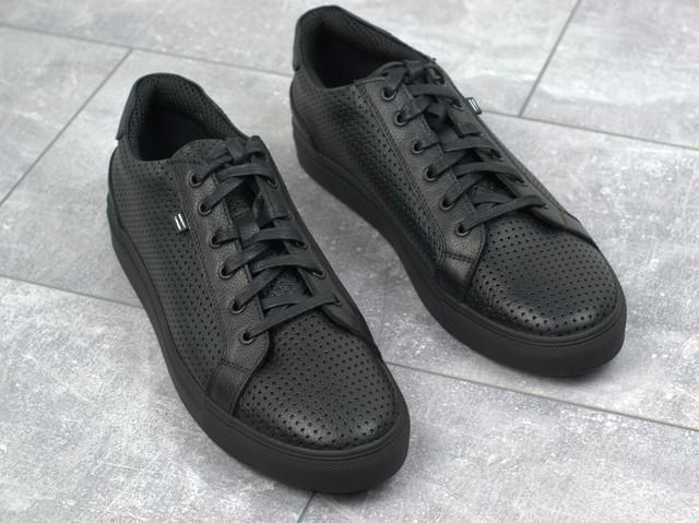 Мужские летние кроссовки черные кожаные кеды обувь больших размеров Rosso Avangard Ada Black PerfLeath TPR BS