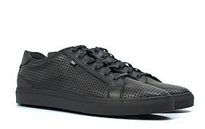 Мужские летние кроссовки черные кожаные кеды обувь больших размеров Rosso Avangard Pura Black PerfLeath TPR BS