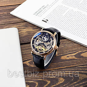 Оригинальные мужские наручные часы скелетон механика с автоподзаводом Brucke J055 Black-Cuprum