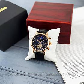 Оригинальные Мужские Наручные часы механика с автоподзаводом Brucke J025 Black-Cuprum / кожаный ремешок