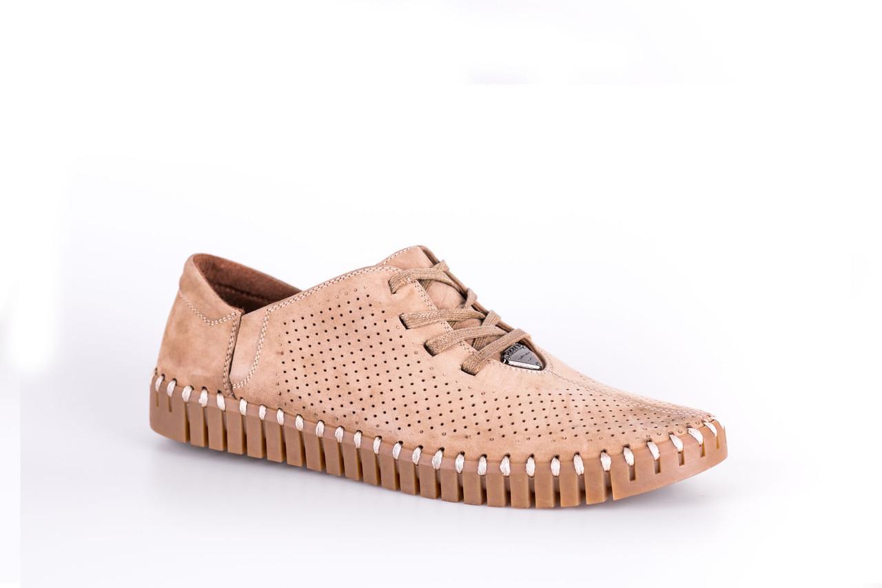Мокасини Prime Shoes на шнурівках, бежеві