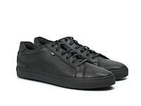 Мужские летние кроссовки черные кожаные кеды обувь сетка Rosso Avangard Puran Black PerfLeath TPR